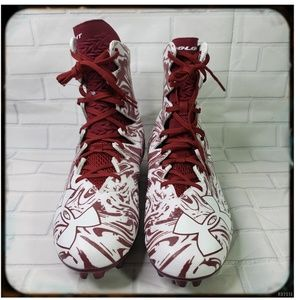 NWOT Under Armour Maroon and White Cleats Sz 13